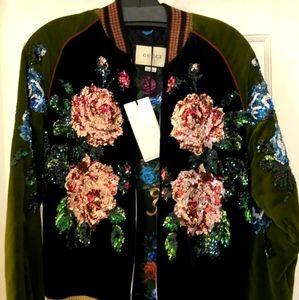 Gucci classic silk urban bomber jacket sz 40